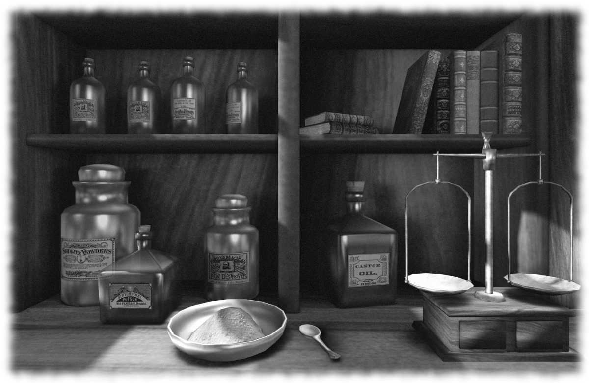 The drugstore in black and white