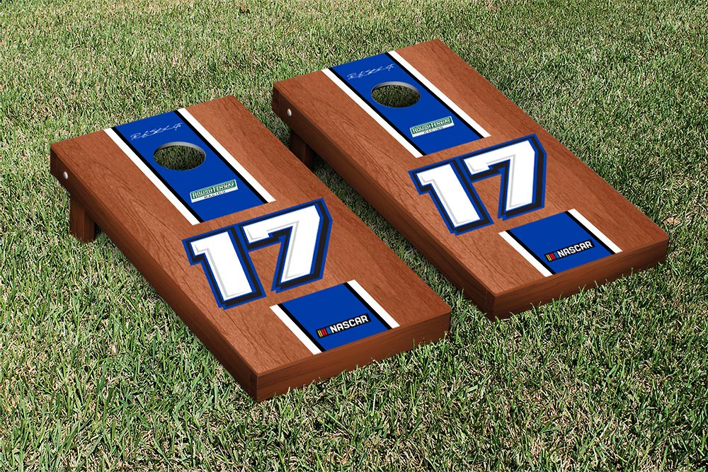 RICKY STENHOUSE JR #17 CORNHOLE GAME SET ROSEWOOD STAINED STRIPE VERSION (1)