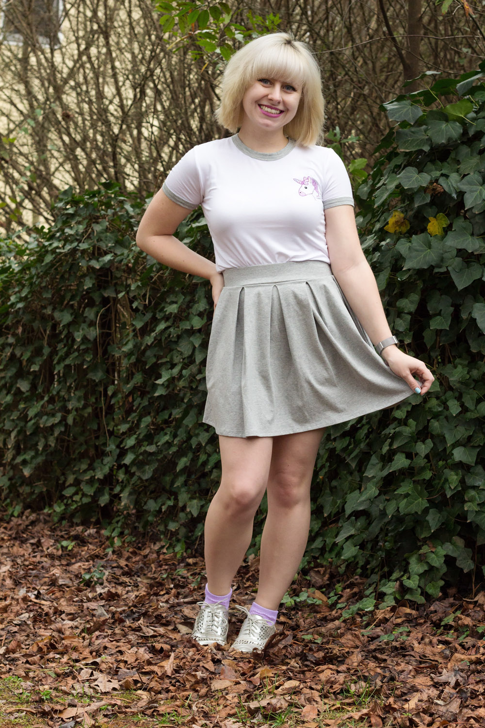 Gray Pleated Skater Skirt, Silver Oxford Shoes, Embroidered Unicorn White Crop Top