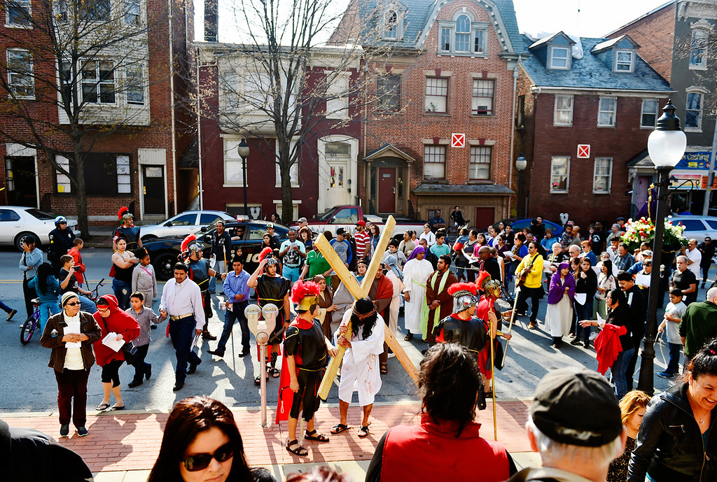 © 2016 by The York Daily Record/Sunday News. People enter the Immaculate Conception of the Blessed Virgin Mary Church after a Good Friday street procession Friday, March 25, 2016, in York.