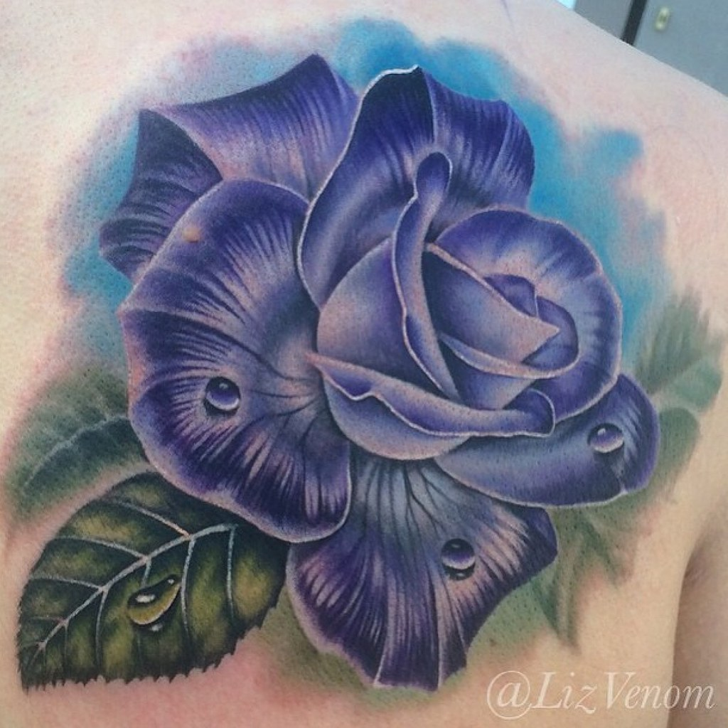 Blue And Purple Roses Tattoo   www.imgkid.com - The Image ...