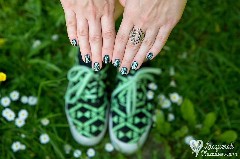 Glow in the dark sneakers nail art