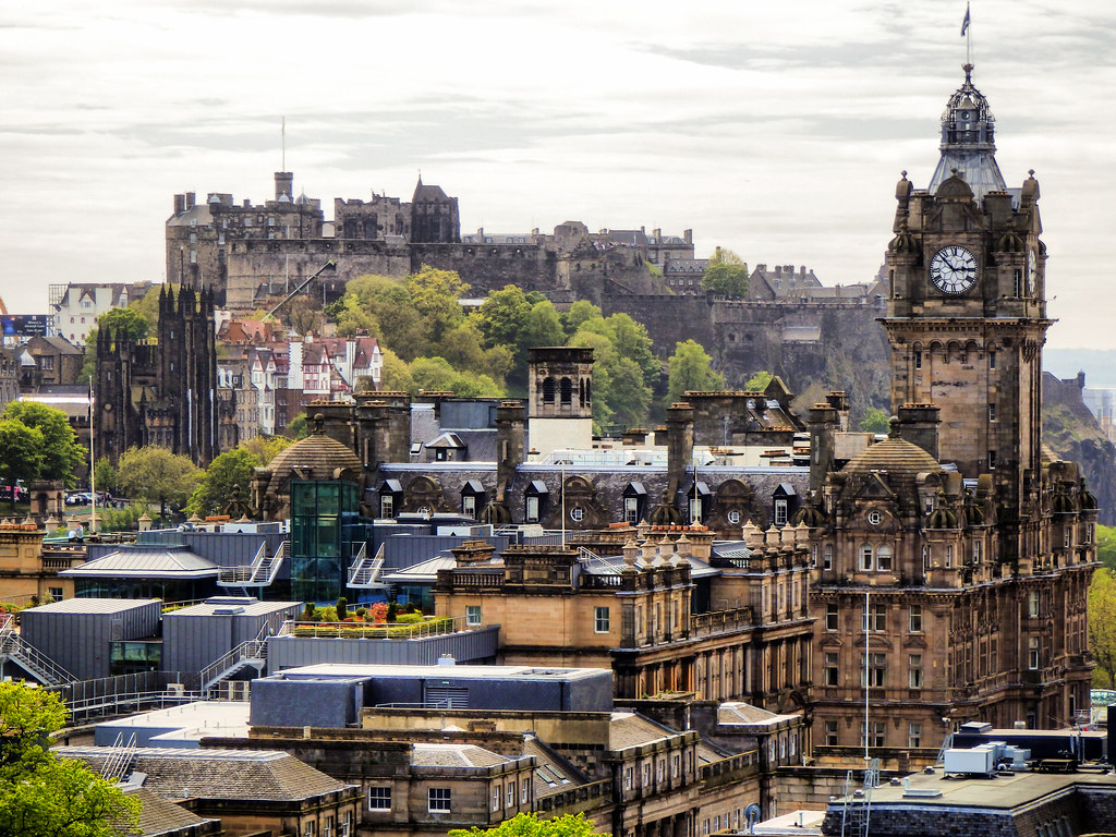 View From Calton Hill  Edinburgh Castle  Balmoral Hotel