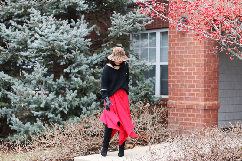 red-skirt-choker-sweater-suede-boots-hat-4