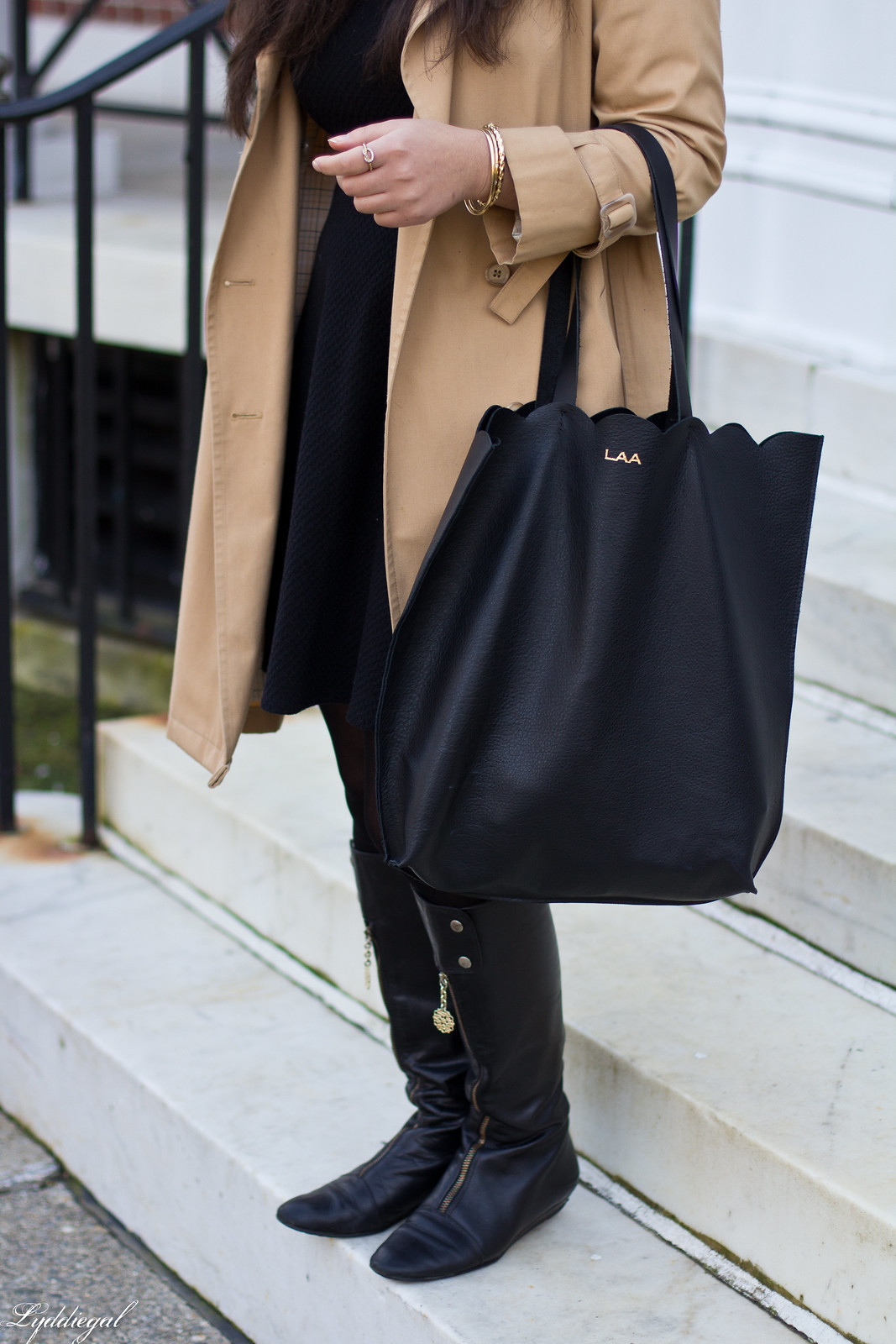 trench coat, little black dress, boots, matine tilly tote-3.jpg