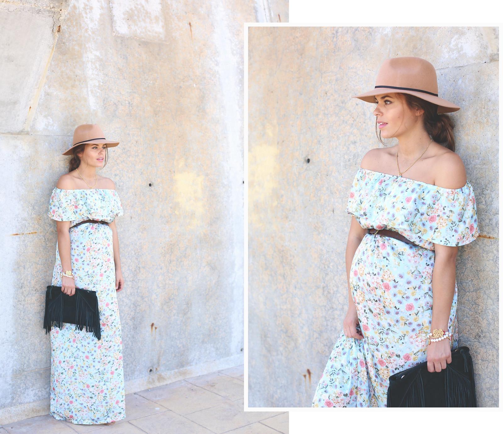 4. floral print long dress - jessie chanes - pregnancy