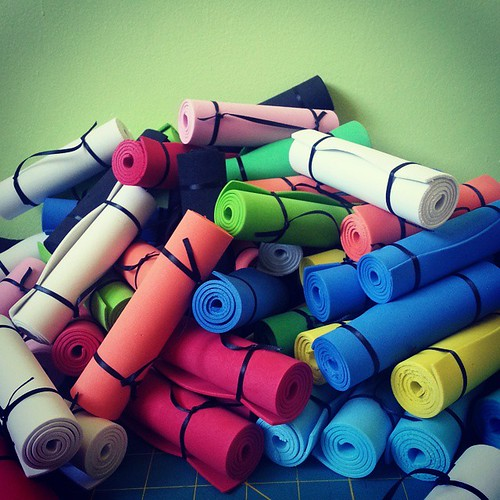 I finished rolling the 1:6 yoga mats. Everyone's goodie bag will have one! #blytheconvancouver