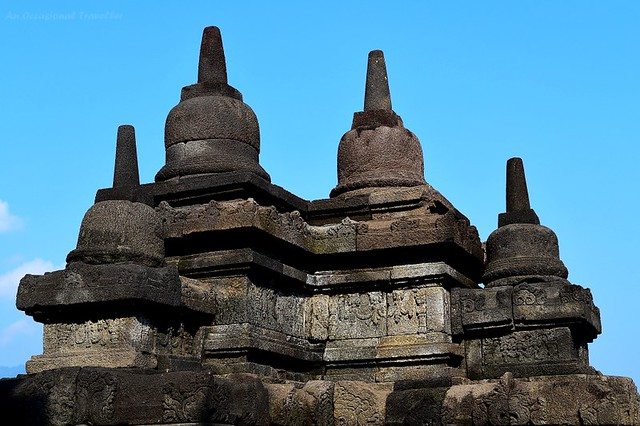 Mini stupas on a corner of Borobudur Temple