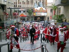 "Santa storms Hollywood and Highland, chanting ""ONE OF US...ONE OF US..."" 