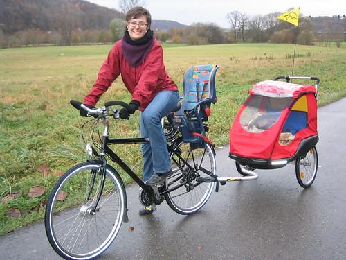 Baby in a bike trailer | That's my little friend Linnea in ...