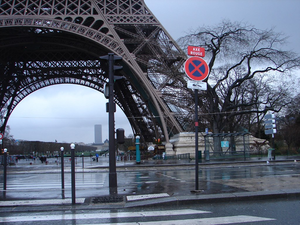 Eiffel Tower In Rain And Wind Paris On A Rainy Windy