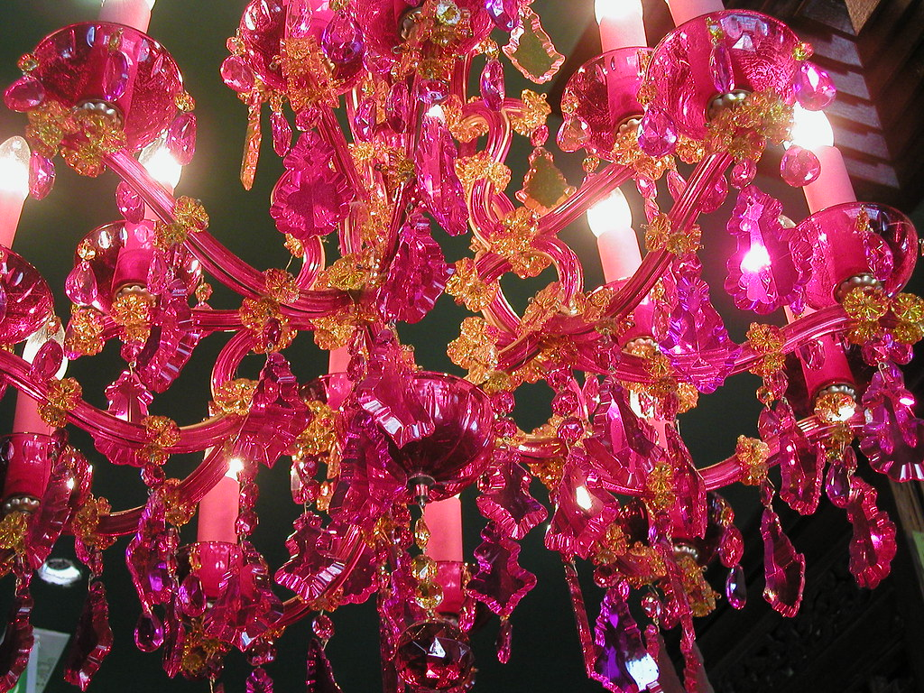 Gorgeous pink crystal chandelier heres the big picture w flickr gorgeous pink crystal chandelier by shimmertje arubaitofo Image collections