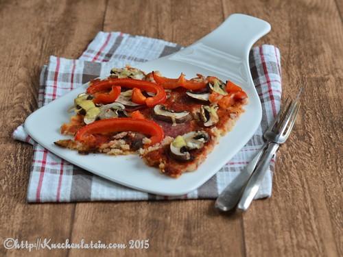 ©Champignon-Paprikapizza mit Blumenkohlboden
