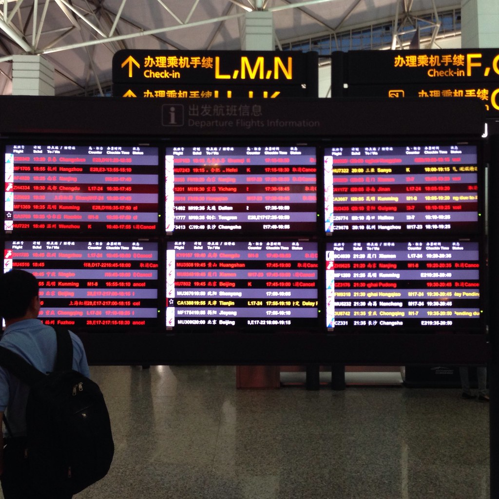 Departure Board at Guangzhou Baiyun