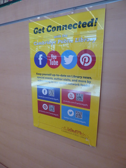 social media connections, Main Library, Cambridge Public Library, MA