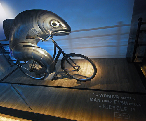 Fish frantically pedalling a bicycle featured in the older Guinness Beer advertising