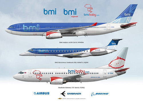 BMI BMIBaby BMI Regional Airbus A330 Embraer 145 Boeing 73 ...