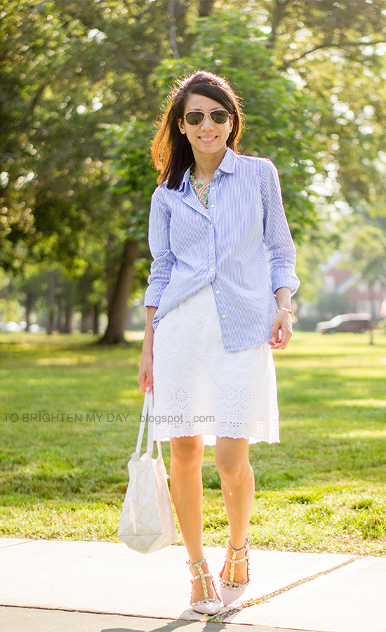 turquoise necklace, blue striped dress shirt, white eyelet dress, pastel colored caged flats