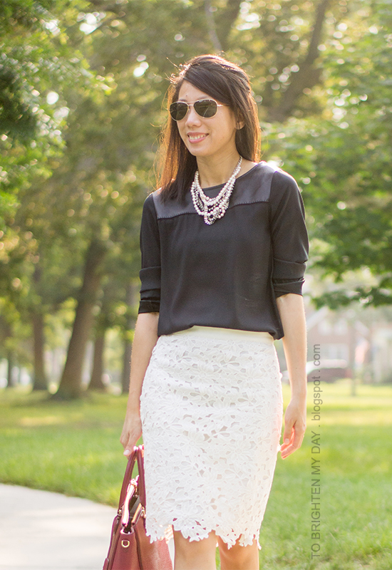 pearl and mixed metal necklace, black faux leather top, floral lace pencil skirt