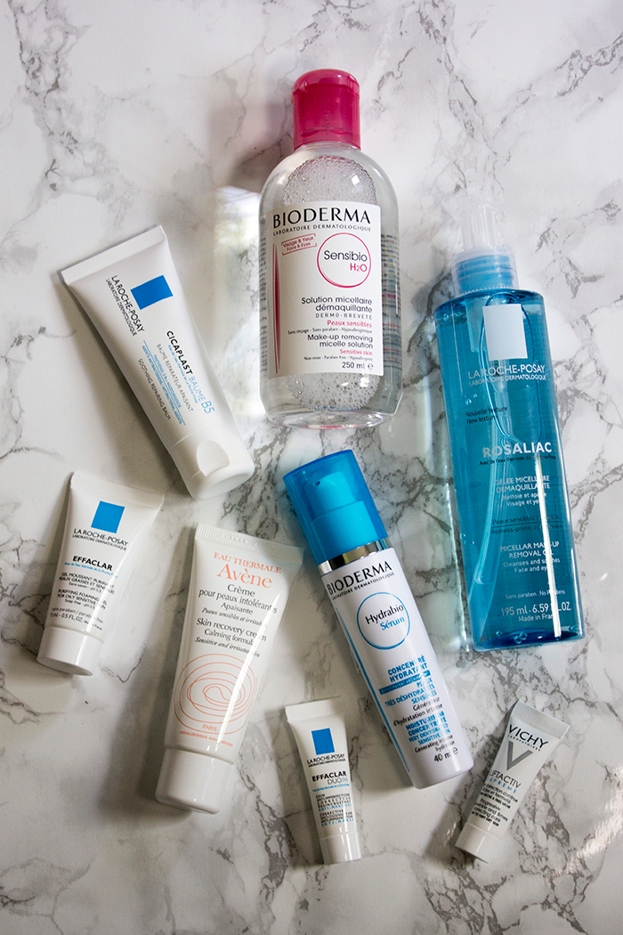 French Pharmacy Skincare:  La Roche-Posay Rosaliac Micellar Make-Up Removal Gel, Bioderma Hydrabio Moisturising Concentrate,Bioderma Sensibio H2O Micelle Solution, Avene Skin Recovery Cream and La Roche-Posay Cicaplast Baume B5 - Soothing Repairing Balm