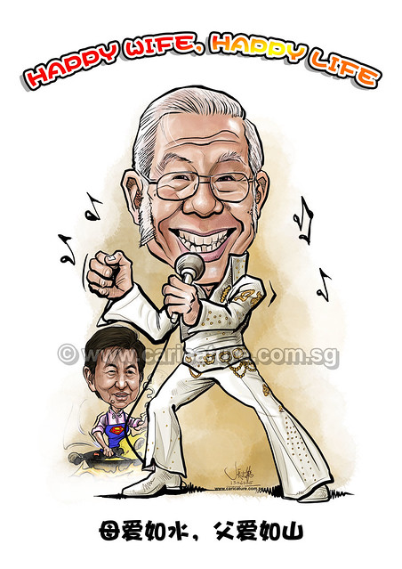 digital caricature of father in law Elvis Presley (watermarked)