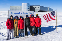 The 2016-2017 South Pole Ice Core Field Team. Pictured from left to right: Ryan Bay, Joe Souney, Emma Kahle, Murat Aydin, Jay Johnson, Josh Goetz.