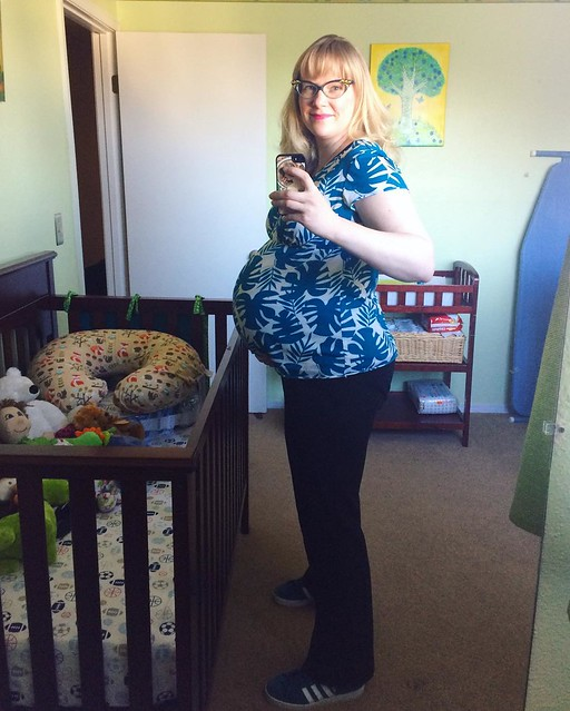 Last day of work outfit (for a while). My boss remarked that I had the face of someone about to go into labor. Well yeah!