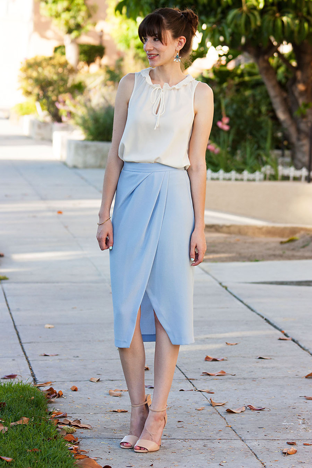 Light Blue Midi Skirt - Jeans and a Teacup