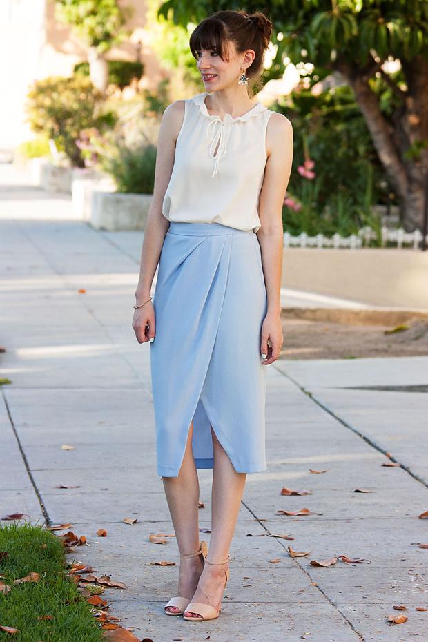 Light Blue Midi Skirt - Jeans and a Teacup