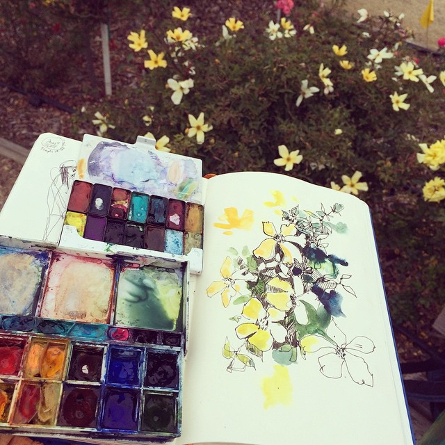 Sketching in the rain! #sketchbook #flower