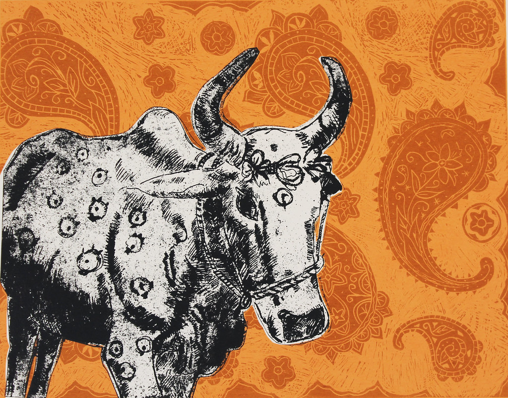 Indian Cow with Paisley   A collaborative print created by L
