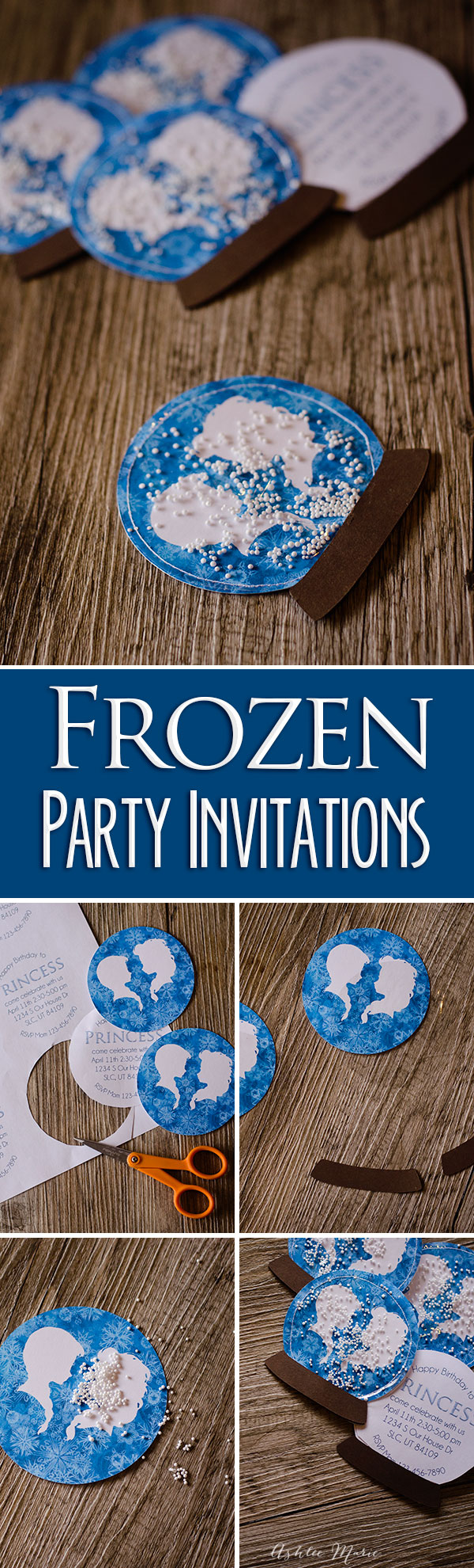 These Frozen birthday party invitations are made to look just like snow globes, free printables