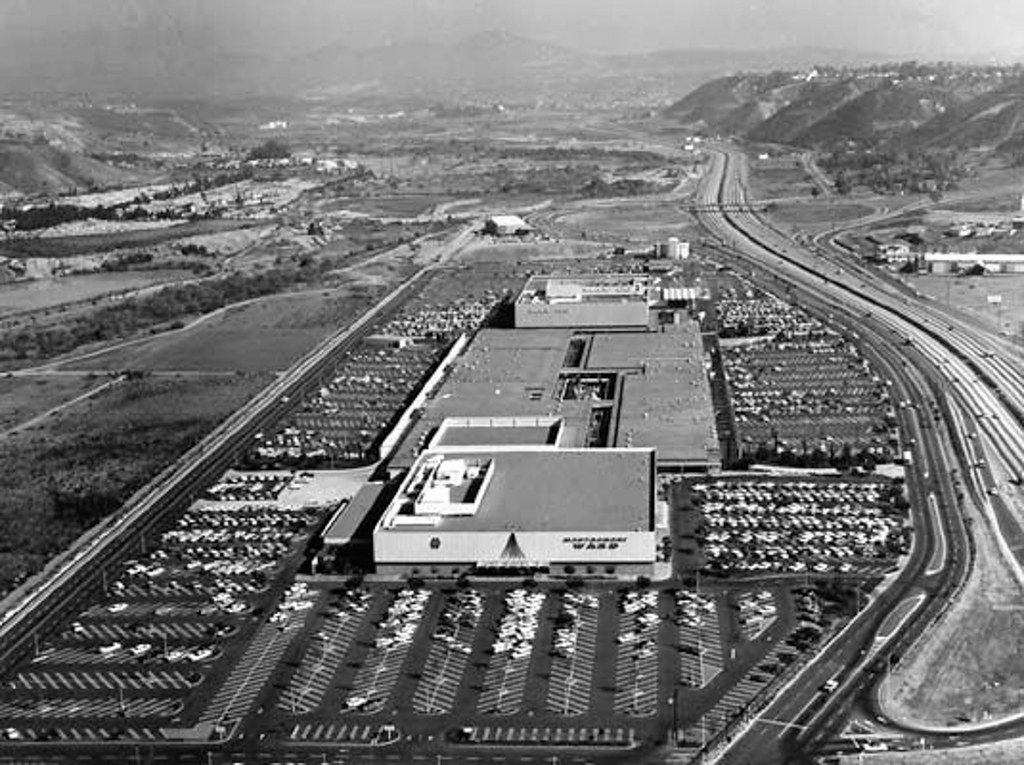 mission valley center aerial 1965 archival