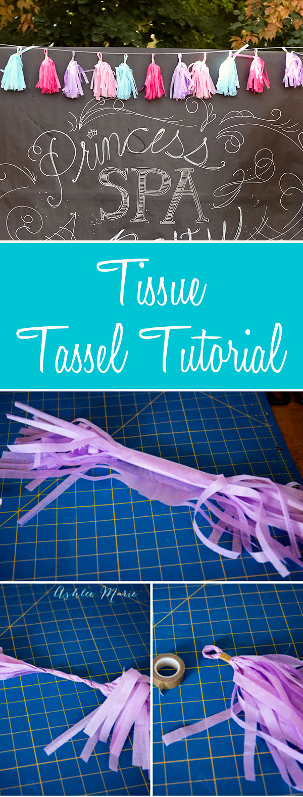 make your own tissue tassels for tassel bunting