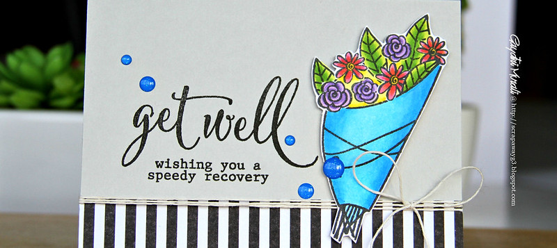 Get well blue bouquet closeup