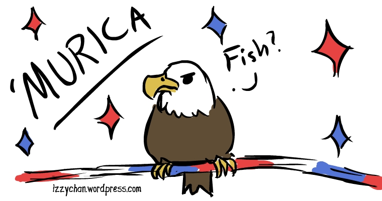 bald eagle 4th of july red white blue fish