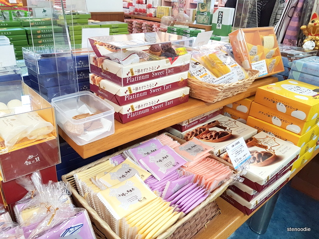 cakes and rice crackers at souvenir shops