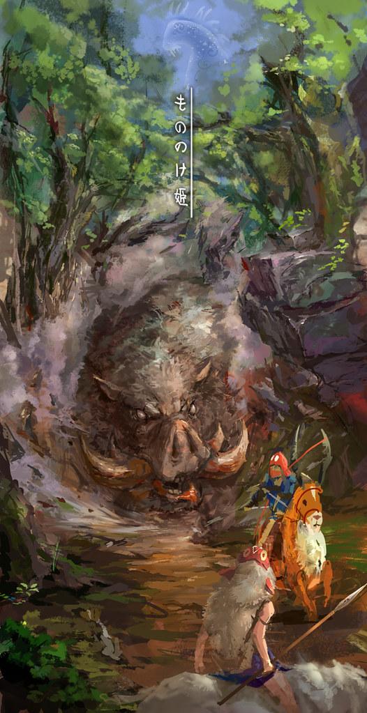 Studio Ghibli by lixiaoyaoii - Princess Mononoke