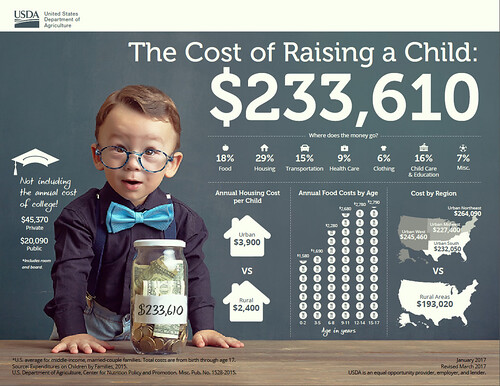 Families Projected To Spend An Average Of 233610 Raising A Child Born In 2015 Infographic