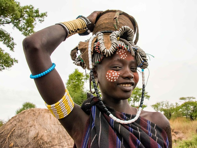 Mursi girl in Omo, Ethiopia.