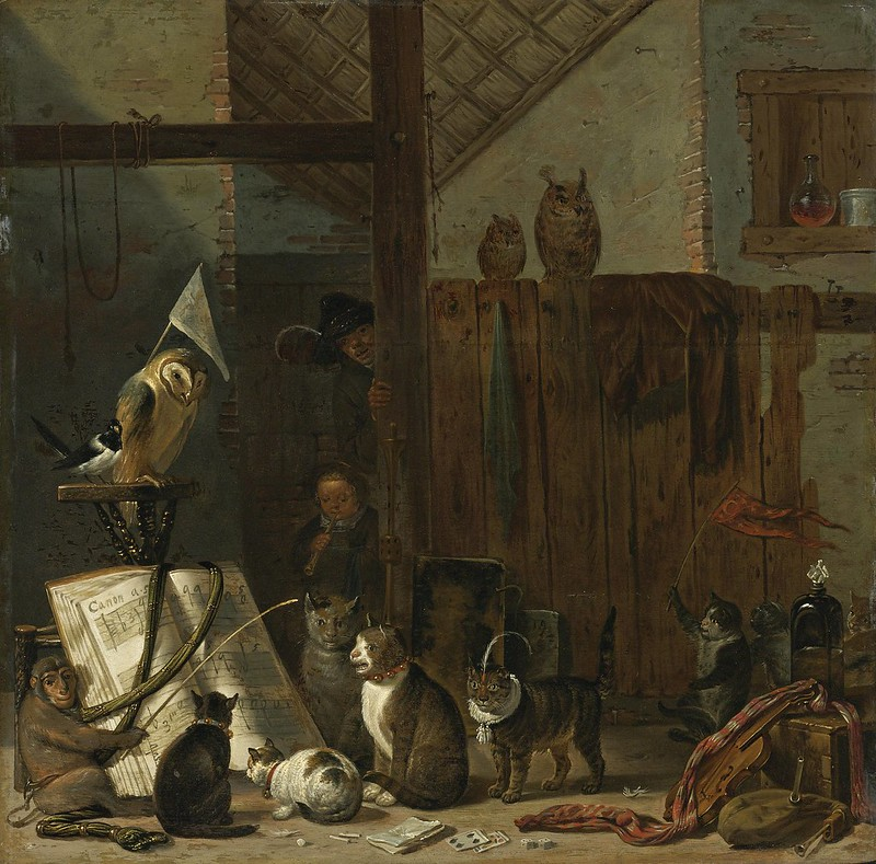 Cornelis Saftleven - A concert of cats, owls, a magpie, and a monkey in a barn