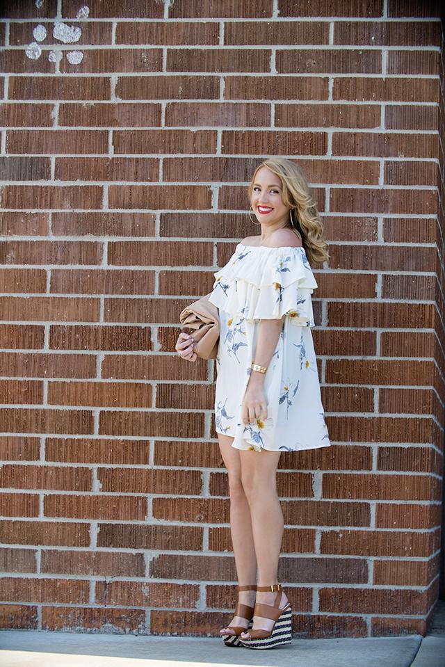 chicwish, affordable fashion, chicwish dress, floral chicwish dress, striped wedges, tan striped wedges, raffia wedges