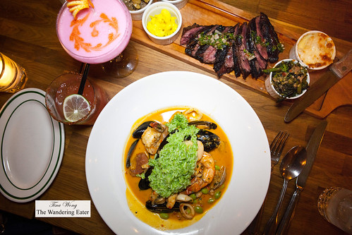 Main courses - Grilled hangar steak and Brazilian style seafood curry | by thewanderingeater