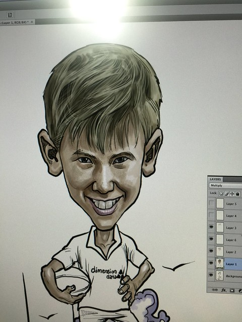 Rugby player digital caricature layering