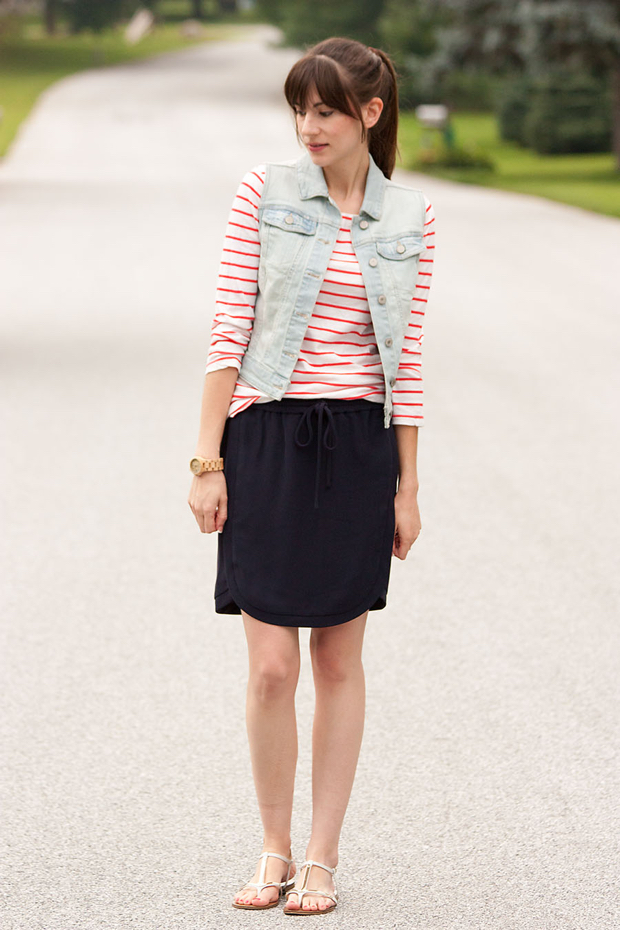 Striped Tee, Navy Skirt, Denim Vest, Jord Watch