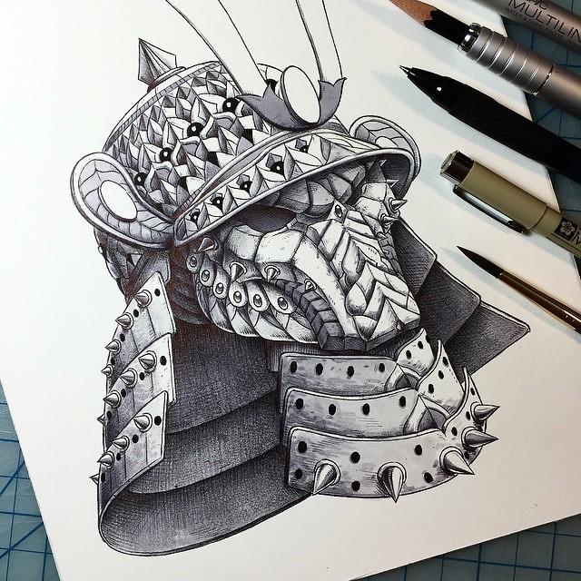 samurai helm tattoo design of a modify predator mask wit. Black Bedroom Furniture Sets. Home Design Ideas