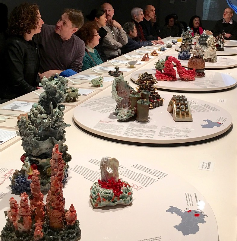 Attendees at MoCA's Chinese-American table as interpreted by artists Heidi Lau and Lu Zhang.