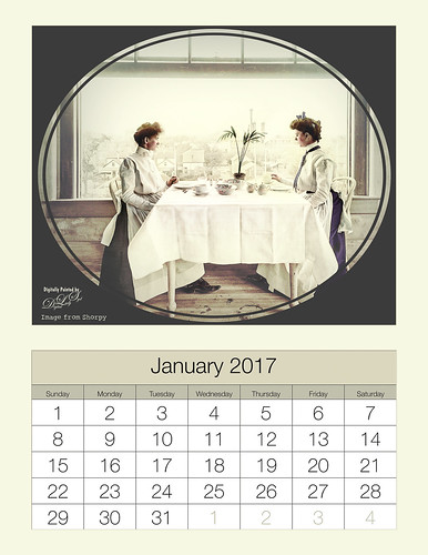 January 2017 Calendar using 1902 colorized image