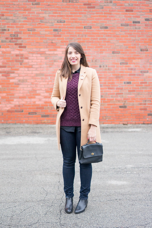 maroon sweater + tan camel coat + bug brooch + jeans; casual winter outfit | Style On Target blog