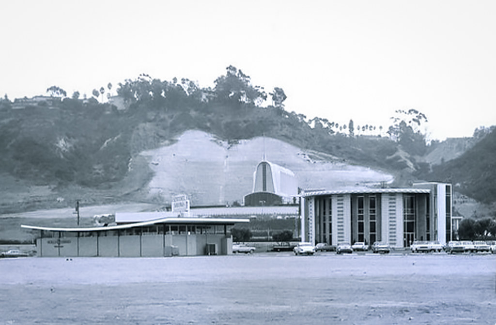 mission valley center parking area modernist buildings archival photo